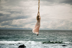 Hold on (Lichon photography) Tags: hair ocean lake conceptualphotography surreal surrealism braid girl women female rapunzel blue pink dress concept idea hairstyle long canada serene beauty rope sky barefoot foot photoshoot cosplay portrait