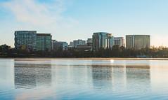 Dreamy city (e-maujean) Tags: city lake reflection glass sunrise buildings nikon d750 dreamy canberra newacton