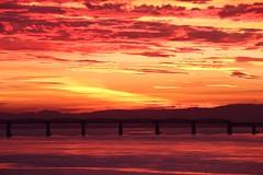 Firth of Tay Sunset (milnefaefife) Tags: bridge sunset sea seascape night clouds dark landscape evening coast scotland fife dundee railway estuary tay shore tayrailbridge newportontay firthoftay