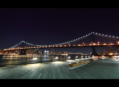 Just a simple night view of Manhattan Bridge (Yohsuke_NIKON_Japan) Tags: nyc longexposure ny water brooklyn night nikon manhattan wide dumbo sigma manhattanbridge eastriver nightview 夜景 williamsburgbridge アメリカ 10mm ニューヨーク イーストリバー d3100 マンハッタン橋