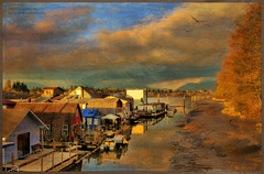 life on the river (non stop creations- Sherry Landon) Tags: sunset canada painterly art texture buildings river boats pier boat nikon glowing sherry colourful fraserriver hdr houseboats landon d300 coth fantasticnature nonstopcreations