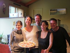 The Jennys and the lovely and talented Kent - pizza chef extraordinaire.