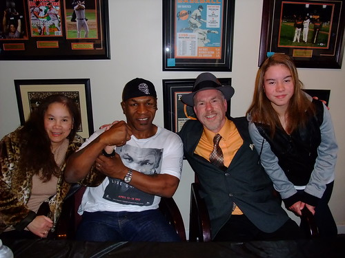 Me and la familia hanging out with Mike Tyson at ManCave Memorabilia