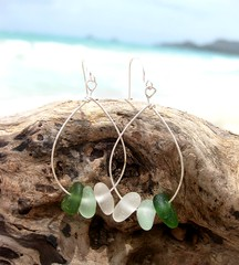 IMG_7557 (LindseysBeachGlass) Tags: blue sea white green beach glass colors leather silver hawaii wire aqua handmade teal jewelry clear bracelet hawaiian earrings seaglass rarecolor olibe