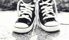 188 | 366 (EsotericMaiden) Tags: shadow summer blackandwhite sun girl canon children shoes child conversion bokeh july converse littlegirl 365 chucktaylor untied shoestrings day188 366 wrongfeet 365project 188366 366project july2012