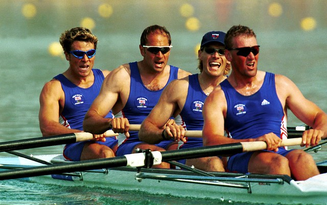 Matthew Pinsent, Tim Foster, Steven Redgrave and James Cracknell of Great Britain on their way to victory in the mens coxless four semifinal during the Sydney 2000 Olympic Games at the Sydney International Regatta Centre, Sydney, Australia.  Photo: Ross Kinnaird/ALLSPORT