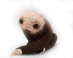 custom two toed sloth (GretelCreations) Tags: animal toy stuffed doll soft crochet felt plush jungle mohair kawaii sloth plushie hanging etsy knitted amigurumi gretel creations