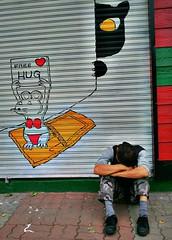 Free Hug (lucbonnici) Tags: road sleeping streetart love graffiti pain hug korea smartphone shutters need lonely freehug bucheon ajoshi camera360