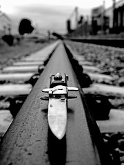 Stiletto railroad () Tags: city railroad light urban usa danger america train grit rebel photo shadows close view image artistic south united tracks picture rail railway gritty sharp neighborhood photograph local tacoma states stiletto switchblade contraband