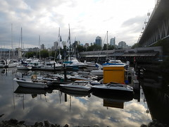 Reflections on Granville Island (David J. Greer) Tags: summer cloud reflection water yellow vancouver clouds sailboat creek reflections boats island boat bc cloudy granville sailboats false
