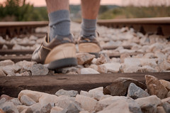 1000 miles away... (aleksi the great) Tags: railroad sunset feet shoes loneliness walk railway away longway