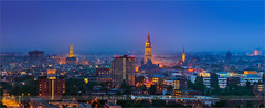 Groningen - Netherlands (~ Floydian ~ ) Tags: city longexposure blue sunset panorama holland tower church netherlands canon landscape lights town view stitch toren pano wide martini panoramic capitol hour stitching after bluehour groningen tasman viewpoint province martinitoren akerk ptgui floydian proframe proframephotography canoneos1dsmarkiii henkmeijer atoren