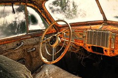 Got Any Jumper Cables? (rickhanger) Tags: abandoned car automobile interior automotive dashboard steeringwheel abandonedcar supershot flickrdiamond