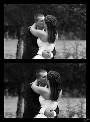 Posed Kiss (FlickrJono) Tags: wedding blackandwhite photoshop curves crop clone levels recolor