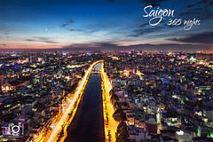 Nhieu Loc cannal in twilight (Andy Le | +84908231181) Tags: road city travel people tower andy skyline night canon buildings river hotel hall office asia vietnamese head young culture vietnam le chi loc years ho minh saigon committee trident cannal nhieu