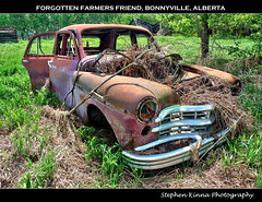 Forgotten Farmers Friend (Stephen Kinna Photography) Tags: door old canada abandoned overgrown grass car sedan lost four photo high rust dynamic decay farm deluxe c engine rusty ab special chrome forgotten alberta rusted damage dodge grille wreck range hdr highdynamicrange decayed 1949 decaying bonnyville photoengine oloneo