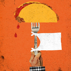 Tacos (Justin Renteria) Tags: food illustration tacos fork americans mexicans surrender whiteflag villagevoice justinrenteria