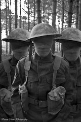 "The Watchers (steiner2009 ""AKA Dr Dust "") Tags: blackandwhite forest death woods uniform decay helmet spooky horror ww2 soldiers ghosts britisharmy bandage thetford watchers webbing"