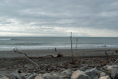 Calm Seas (Jocey K) Tags: trees light sea newzealand sky people beach water sand rocks driftwood southisland westcoast hokitika southwestland