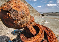 Do I look big in this? (cathbooton) Tags: scale closeup canon boat big rust iron small perspective anchor hdr wirral merseyside 10mm canonusers