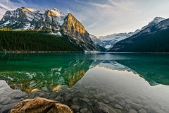 Lake Louise Evening (Blueshound250) Tags: travel blue copyright orange green landscape gold landscapes alberta lakelouise allrightsreserved 2016