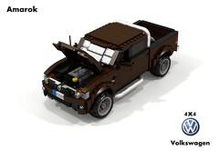 VW Amarok 4x4 Highline Pickup (lego911) Tags: auto car vw truck germany model lego offroad 4x4 diesel render utility pickup ute turbo german awd cad 2010 povray amarok moc bof ldd miniland lego911