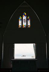 St Mary's by the Sea (Katie Tarpey) Tags: ocean sea film window 35mm boat kodak australia chapel stainedglass altar queensland tropical portdouglas stmarysbythesea lightanddark religeon kodakportra400 tropicalchapel
