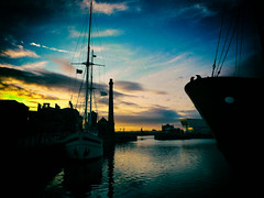 If Ships Were Made To Sail. (elam2010) Tags: sunset shadow sky water clouds liverpool reflections landscape lumix dock moody waterfront ships silhouettes panasonic albertdock sailingship canningdock museumofliverpoollife lx3 dmclx3