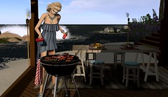 Beachside BBQ (Jamee Sandalwood - Miss V SWEDEN 2015) Tags: summer beach fashion outside outdoors photography photo blog 500v20f bbq blogger sl secondlife blonde blogged penumbra artphotography slfashion loovus fashionartphotography