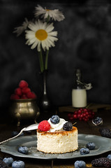 Ukrainian cheesecake with berries and cream, still life (breamchub) Tags: blue stilllife food cold color fruits vegetables cake closeup fruit cheese pie table dessert photography restaurant baking leaf berry moody purple drink sweet eating background space cream mint plate cheesecake gourmet indoors blueberry slice meal pastry backgrounds raspberry products dairy ukrainian copy culinary freshness foreground elegance refreshment foodphotography