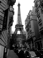 LA TOUR EIFFEL (natascha_huls) Tags: street camera city travel vacation sky urban blackandwhite bw holiday paris france streets travelling cars monochrome car vertical architecture outside outdoors grey blackwhite europe european cityscape noiretblanc outdoor transport sightseeing eiffeltower perspective streetphotography cityscapes landmarks nopeople landmark architectural transportation urbanexploring urbanlandscape urbanphotography verticallandscape