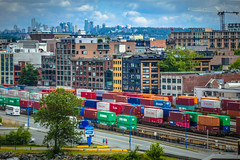 Cargo Trains at Port of Vancouver  (Canada Place) (TOTORORO.RORO) Tags: city canada skyline architecture vancouver port train buildings colorful cargo lifestyles