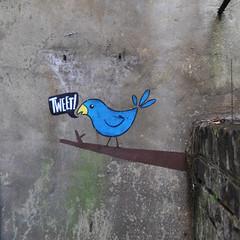 Tweet tweet! (id-iom) Tags: street england urban bird london art wall graffiti stencil paint spray tweet idiom twitter