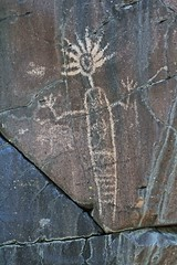 Petroglyph / Little Petroglyph Canyon (Ron Wolf) Tags: california nativeamerican petroglyph archeology chinalake shaman anthropology rockart headdress anthropomorph anthromorph rainshaman cosoculture patternedbodyanthropomorph cainy281