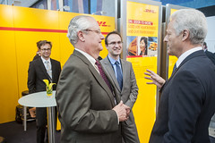 Bill Meahl  talks with Peter Ramsauer at the DHL Stand