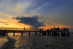 Punggol Jetty_ Singapore (spintheday) Tags: sunset sea sky orange clouds relax fishing singapore dusk jetty wave punggol canonefs1022mmf3545usm punggolwaterwaypark