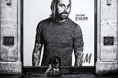 Jumper (White_V) Tags: street man london shop wall tattoo bag poster jumper hm oxfordstreet bilding whiteandblackwb