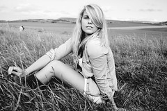 Annabelle. (Gert-Jan De Baets) Tags: light portrait blackandwhite bw sun sunlight black flower nature girl grass shoot sony sigma blonde capblancnez 2470mm