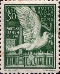Vatican 50c Airmail Stamp (stompstompstamps) Tags: italy white vatican building green bird italian italia catholic peace post mail stamps dove c cent pillar stamp obelisk 50 pillars postage postagestamp airmail posta vaticancity aerea olivebranch vaticana 50c postaaerea postaaereavaticana