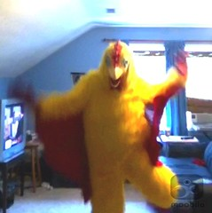 Chicken suit 59 (ChickenJay) Tags: bird chicken happy zoo costume transformation mask dancing wing beak suit talon hen groovy birdbrain toony