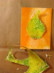 july pear I wip step 3 (Gallery Juana, Juana Almaguer) Tags: collage workinprogress wip aceo pear chigirie