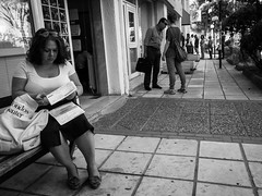 ... (Georgios Karamanis) Tags: door trees people bw woman white man black sunglasses bag bill sitting center queue thessaloniki hondos karamanis