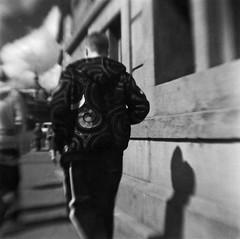 Colbert (robert schneider (rolopix)) Tags: blackandwhite bw blur holland 6x6 film netherlands monochrome amsterdam mediumformat walking square blurry pattern kodak toycamera nederland jacket brownie hawkeye expired colbert plasticcamera vp outdated 620 bhf browniehawkeyeflash flippedlens outofdate verichromepan verichrome 120620 robertschneider autaut believeinfilm rolopix