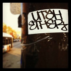 UTAH x ETHER (billy craven) Tags: chicago graffiti utah sticker ether mul handstyles slaptag uploaded:by=instagram