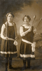 Edwardian young women with their Indian clubs (lovedaylemon) Tags: girls vintage found exercise image indian photograph clubs gymslips