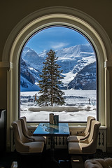 Lakeview Window (DCZwick) Tags: winter snow canada mountains tree ice window table rockies alberta rockymountains lakelouise mtvictoria canadianrockies chateaulakelouise victoriaglacier pentaxart
