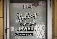 Heritage Costume Jewelry (k.james) Tags: door city urban chicago reflection heritage sign advertising costume gate pointer lock finger jewelry security doorway fist instructions lettering script doorbell costumejewelry jeweler kenthenderson signpainting ringbell manicule chicagojeweler kjameshenderson