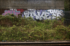 Dowt / Bake / Onue (Alex Ellison) Tags: graffiti boobs railway add graff 2d bake trackside northlondon dfn dowt onue