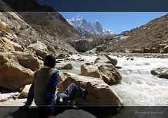 Baba enjoying the perfection around (koushikzworld) Tags: mountain nature trekking photography fuji indian sony himalayas ganga gangotri gomukh carlzeiss shivling bhagirathi uttarakhand gaumukh koushikzworld koushikbanerjee