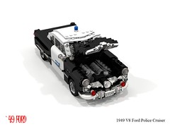 Ford 1949 - V8 Coupe - Police Cruiser (lego911) Tags: ford 1949 spinner v8 cruiser police cop 1940s classic auto car moc model miniland lego lego911 ldd render cad povray chrome usa america lugnuts challenge 103 thefabulousforties fabulous forties redo redemption whoisagentjanus lino